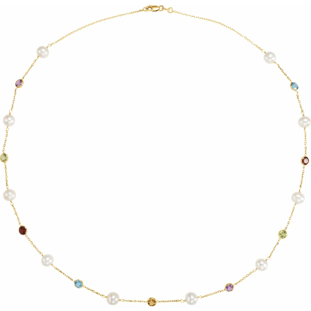 18 inches multiple stone necklace