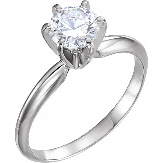 1 Carat Lab-Grown Solitaire Diamond Engagement Ring in 14K White Gold