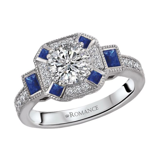1 Carat Diamond Halo Engagement Ring with Sapphires